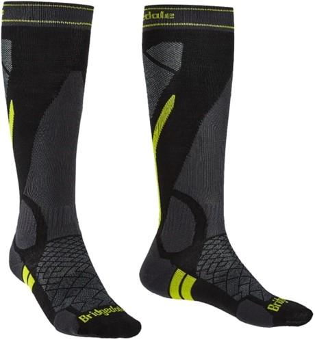 Bridgedale Ski Lightweight Over Calf Merino Performance Men black/lime M