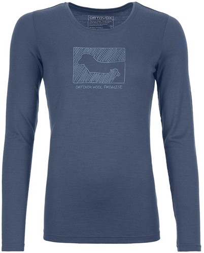 Ortovox 185 Merino Contrast Long Sleeve W night-blue XS